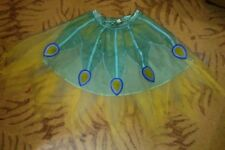 Turquoise Peacock Costume tulle Skirt Carnival Feather girls size 7/8 Halloween
