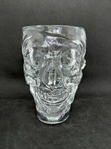 "Luminarc 6-5/16"" Tall Pirate Skull Mug Clear Glass Beer Stein (GC)"