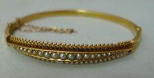 Antico 15ct Giallo Oro & Perla Braccialetto AF 8g A606317