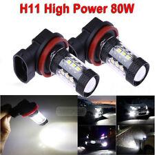 2 X H11 80W 16 LED Fog Tail Driving Car Head Light Lamp Bulb Super White 6000K