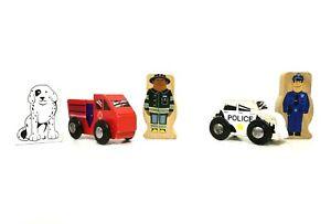 Lot of Wooden Train City Police Car Cop Fire Truck Fireman Dalmatian Brio Thomas