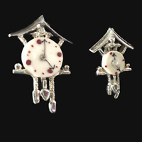 Vintage Pair of Cuckoo Clock Brooches Gold Mother of Pearl Scatter Pins Retro