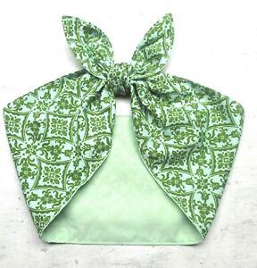 extra wide mint green headband bandana head scarf dolly bow hair wrap tie