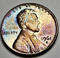 1961-D LINCOLN MEMORIAL BU UNCIRCULATED PENNY CENT NICE DARK TONING BOTH SIDES