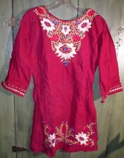 Vintage 1960s India Cotton Embroidered Long Top or Mini Dress L Hippie Boho