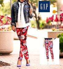 GAP NWT Sz. 0 Women's RED FLORAL Pattern Stretch Slim City Cropped Ankle Pants