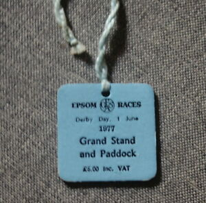 Epsom Races Derby Day 1977 Entry Badge for Grandstand and Paddock