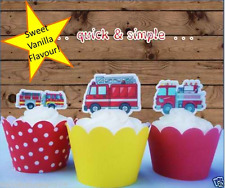 fire engines trucks EDIBLE wafer cupcake cake toppers