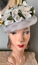 New listing Vintage 1950's Hat W/ White Flowers & Tulle