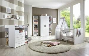 Babyzimmer Kinderzimmer komplett Set Babymatratze Komplettset KIM in weiß