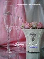 Swarovski Crystal Gold Silver Wedding Mr Mrs Champagne Wine Glasses Flutes Bling