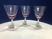 "3 VTG Tiffin Franciscan ""Wistaria Pink"" Footed Water or Wine Goblets Stem #17477"