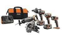 RIDGID 18-Volt Lithium-Ion Cordless 5-Tool Combo Kit with (2) 4.0 Ah Batteries