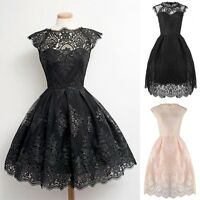Womens Vintage Lace Floral Short Sleeve Evening Formal Cocktail Party Dress