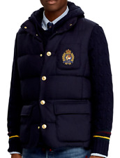 NWT Polo Ralph Lauren $398 Navy WOOL/DOWN Vest Jacket BULLION CREST Men XXL 2XL