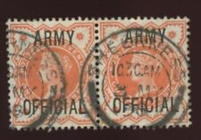 GB OFFICIAL ARMY QV 1/2d PAIR SHEERNESS DOUBLE RING PMK