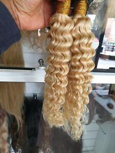 613# Bleach Blonde Brazilian Human Hair Bundles DEEP WAVES CURL 200g 18+18 12AA