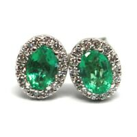 Ohrringe Weißgold 750 18K, Blume, Smaragde 0.81 Ovale, Diamanten, Italien Made