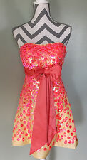 SCALA Pink Yellow Sequin Party Pageant Festive Prom Strapless Gown Dress Sz 4