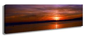 Panorama Wandbild Leinwandbild 120x40 cm Sonnenuntergang Himmel Wolken Abendstim