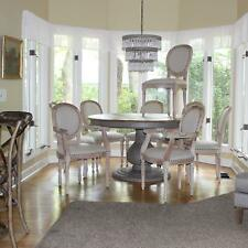 Set Dining Room Chairs Two Arm and Six Side Aged White Wash with Fabric Seats