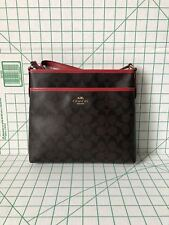 NWT Coach F29210 Signature PVC Zip File Crossbody Bag Brown Black True Red