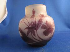 ancien vase pate de verre gallé decor floral acide art nouveau 1900