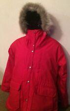 Vintage Woolrich USA Women's Red / Plaid Parka Coat Coyote FUR trim Hood size S