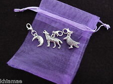 3 x Clip On Wiccan Bracelet Charms wolf moon raven pagan silver