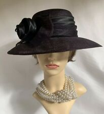 Sinamay Black Dress Hat With Wrap Around Fabric & Sinamay Ribbon & Bow Detail