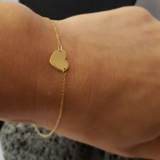 9ct Yellow Gold Flat Heart Bracelet 0.49g NEW Wife Girlfriend Mum BFF Xmas Gift