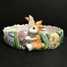 Fitz & Floyd Bunny Tidbit Dish Painting Easter Eggs