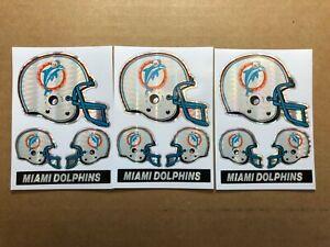 3 Miami Dolphins Metallic Helmet Decal Sheets