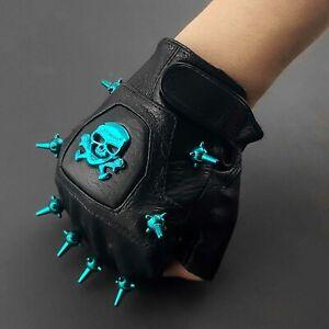 Skull Gloves Stud Spike Leather Gloves For Men Motorcycle Punk Rock Biker