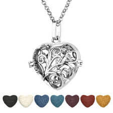 Hollow Heart Locket Necklace Pendant Lava Stone Bead Essential Oil Diffuser Gift