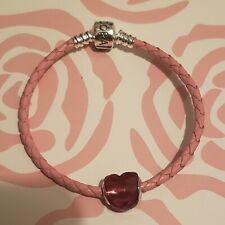Authentic Pandora Pink Leather Woven Charm Bracelet and Fuchsia Charm 18cm