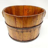 Antique Wooden Round Bucket Unique Rustic Home Decor