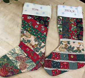 Set of 2 Handcrafted Quilted Christmas Stockings. Personalized. Charms