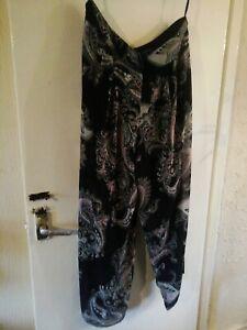 Size 20 Multi Tone Black Paisley Chiffon Partially Lined Wide Leg Chiffon...