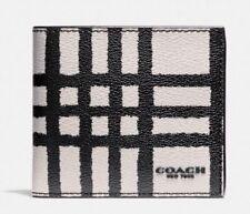 Coach Men's Wild Plaid Print Double Billfold Wallet in Chalk/Black F25196