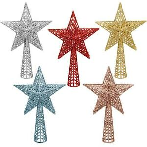 Glitter Collection Christmas Tree Decoration - 25cm Tree Top Star- Choose Colour