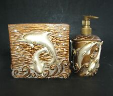 New 2 Pc Set Gold Brown Waves Beach Decor+Dolphin Soap,Lotion Dispenser+Tissue