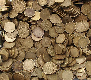 50 X BRASS THREE PENCES BULK ENGLISH COINS