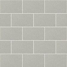 Kitchen and Bathroom Grey Glitter Tile Wallpaper London Brick Tiling M1123