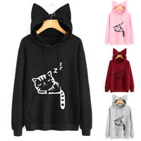 Women Hoodie Sweatshirt Cat Print Hooded Long Sleeve Sweats Spring Fall Cute
