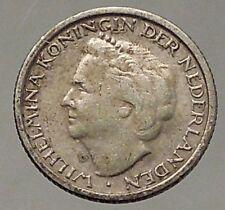 1948 CURACAO Netherlands Kingdom Queen WILHELMINA 1/10 Gulden Silver Coin i57842