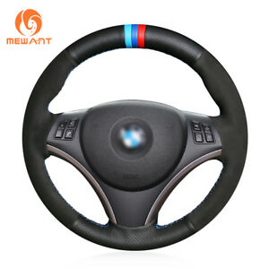 Black Leather Suede Steering Wheel Cover for BMW 1 Series E81 3 Series E90 E91