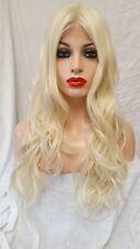 Human Hair Blend Swiss Lace Front Part Wig, Light Blonde Wig, Platinum Wig