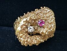 Vintage Retro 14k Yellow Gold Diamond Ruby Band Ring Estate Jewelry  7 g