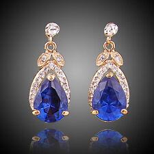 Fashion Women Crystal 18K Gold Plated Blue Zircon Earrings